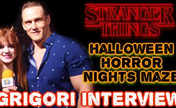 Piper Reese interviewing Andrey Ivchenko from Stranger Things at Halloween Horror Nights
